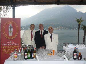 i Barman dell'evento: Francesco Ricciardi. Capo Barman della Villa Serbelloni. Alfredo Raineri e Matteo Scatto soci A.B.I. Professional